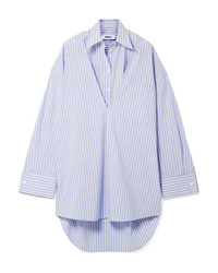 MM6 MAISON MARGIELA Oversized Convertible Striped Cotton Poplin Dress