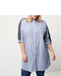 River Island Plus Blue Stripe Lace Sleeve Shirt Dress