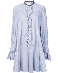Roksanda Ruffled Trim Striped Shirt Dress