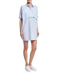 Short sleeve striped poplin shirtdress light blue medium 1247036