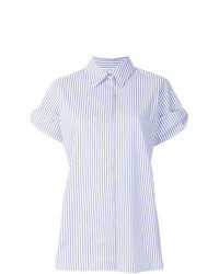 Light Blue Vertical Striped Short Sleeve Button Down Shirt
