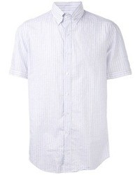 Light Blue Vertical Striped Short Sleeve Shirt