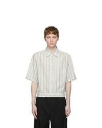 Lanvin Blue And White Seersucker Striped Blouson Shirt