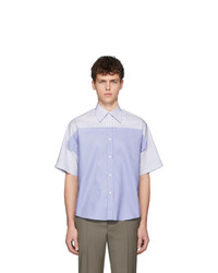 Maison Margiela Blue And White Spliced Shirt