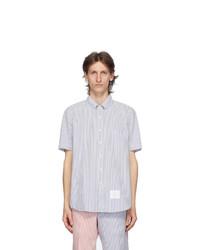 Thom Browne Blue Seersucker Short Sleeve Shirt