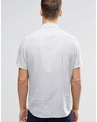 8f03c81892 ... Asos Brand Shirt With Blue Vertical Stripe In Short Sleeve In Regular  Fit ...