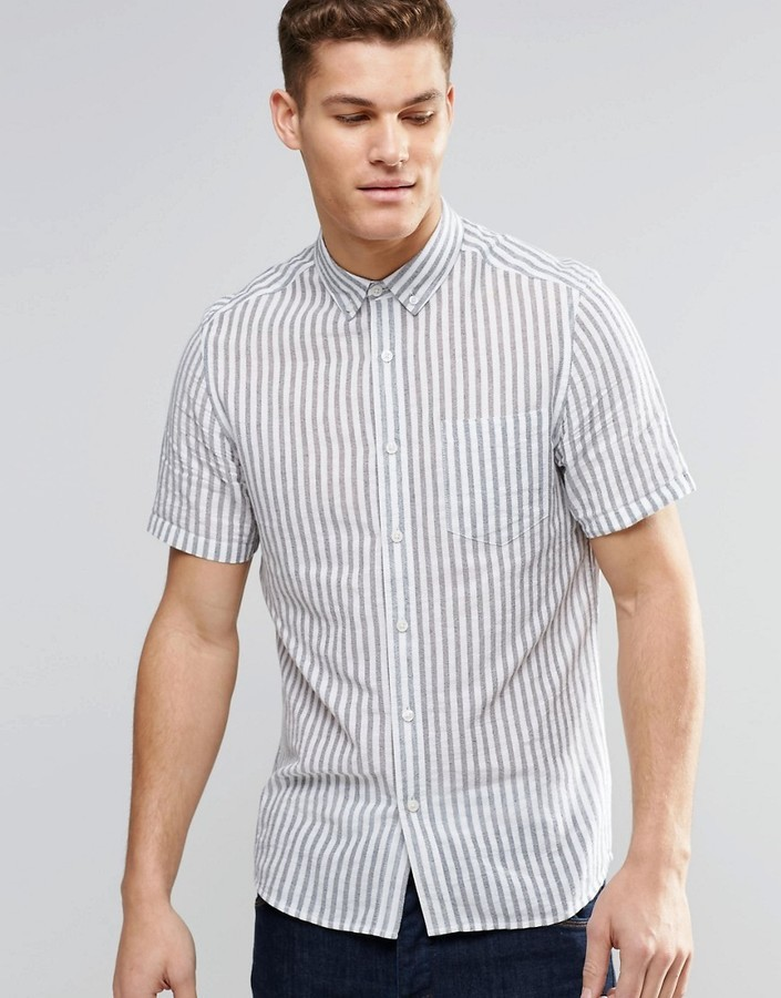 7613792695 ... Striped Short Sleeve Shirts Asos Brand Shirt With Blue Vertical Stripe  In Short Sleeve In Regular Fit ...