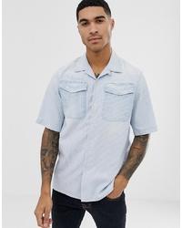 G Star Bristum Utility Short Sleeve Stripe Shirt In Blue