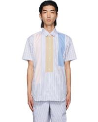 Comme Des Garcons SHIRT Multicolor Stripe Paneled Short Sleeve Shirt