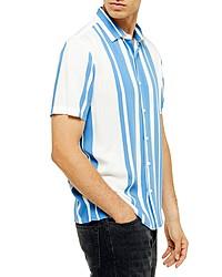 Topman Norsen Slim Fit Stripe Short Sleeve Button Up Shirt