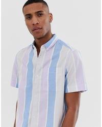 Burton Menswear Shirt With Pastel Stripe In Blue