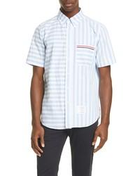 Thom Browne Stripe Short Sleeve Seersucker Shirt