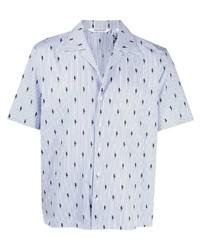Neil Barrett Thunderbolt Striped Bowling Shirt