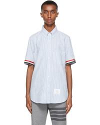 Thom Browne White Blue Seersucker Gros Cuff Short Sleeve Shirt