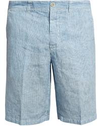 120% Lino 120 Lino Mid Rise Slim Leg Striped Linen Shorts
