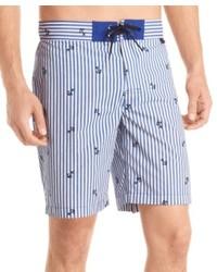 Izod Striped Anchor Board Shorts