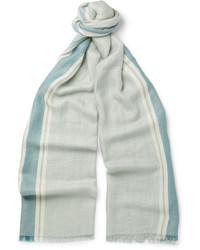 Light Blue Vertical Striped Silk Scarf