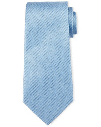 Armani Collezioni Striped Linen Effect Silk Tie Light Blue