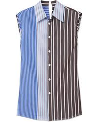 Marni Paneled Striped Cotton Poplin Shirt