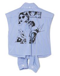 Prada Printed Striped Cotton Poplin Shirt