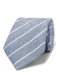 Canali 8cm Striped Slub Linen And Silk Blend Tie
