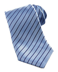 Charvet Neat Stripe Silk Tie Light Blue