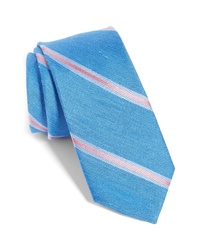 The Tie Bar Leland Stripe Silk Linen Tie