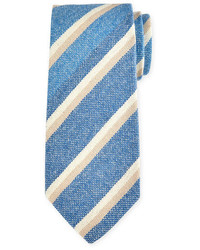 Petronius Striped Cashmere Tie Light Blue