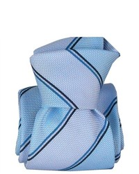 TheDapperTie S Pale Blue Blue Navy Striped 100% Silk Classic Tie Cr2309086 09
