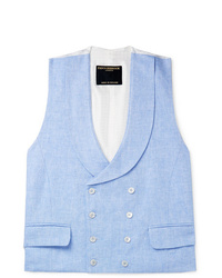 Favourbrook Sky Blue Double Breasted Linen Waistcoat