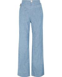 Cotton chambray wide leg pants light blue medium 4394118