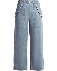 See by Chloe See By Chlo High Waisted Wide Leg Cotton Blend Trousers