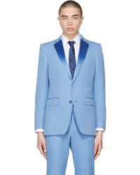 Burberry Blue De Poudre Tuxedo Blazer