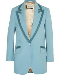 Gucci Velvet Trimmed Wool Blazer Light Blue