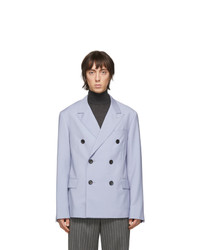 Lanvin Blue Wool Mohair Double Breasted Blazer