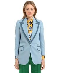 Gucci Structured Wool Jacket W Velvet Details