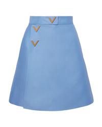 Valentino Wool And Wrap Effect Mini Skirt