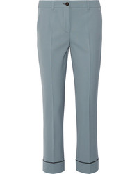 Miu Miu Stretch Wool Straight Leg Pants Light Blue