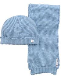 Armani Junior Cotton Wool Blend Tricot Scarf Hat