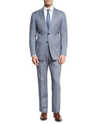 Armani Collezioni Neat Wool Two Piece Suit Bluewhite