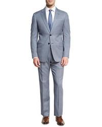 Armani Collezioni Neat Wool Two Piece Suit Bluewhite