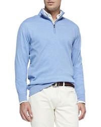 Men's Light Blue Zip Neck Sweater, White Crew-neck T-shirt, Navy ...