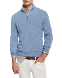 Brunello Cucinelli Cashmere Half Zip Pullover Sweater Light Blue