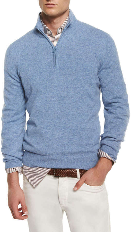 Brunello Cucinelli Cashmere Half Zip Pullover Sweater Light Blue ...