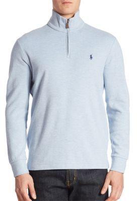 ... Blue Zip Neck Sweaters Polo Ralph Lauren Cotton Blend Pullover Sweater  ...