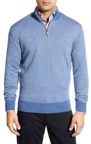 e03003cc1ec663 ... Peter Millar Merino Wool Silk Cashmere Birds Eye Knit Quarter Zip  Sweater ...