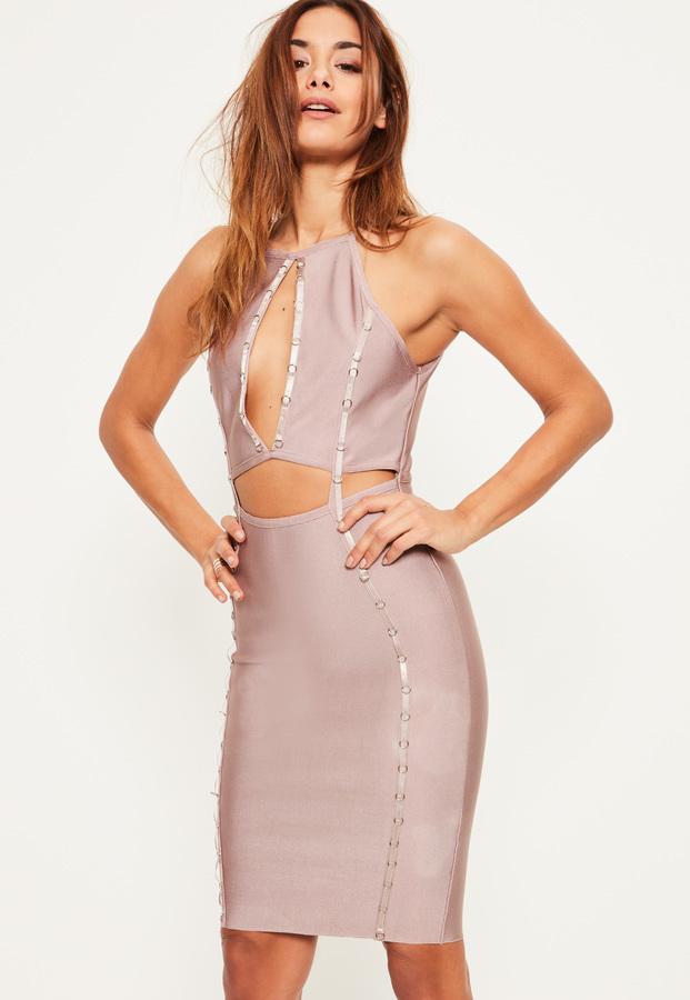 9bde0d5b58 ... Missguided Purple Bandage Keyhole Ring Detail Midi Dress