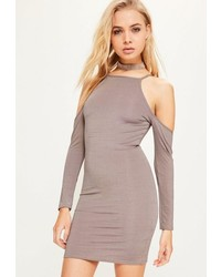 Missguided Purple Cold Shoulder Slinky Bodycon Dress