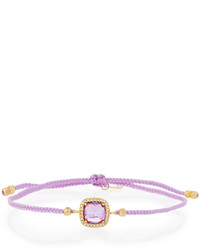 Tai Braided Cord Bracelet W Square Cz Station Light Purple