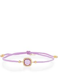 Tai Braided Cord Bracelet W Square Cz Station Light Purple